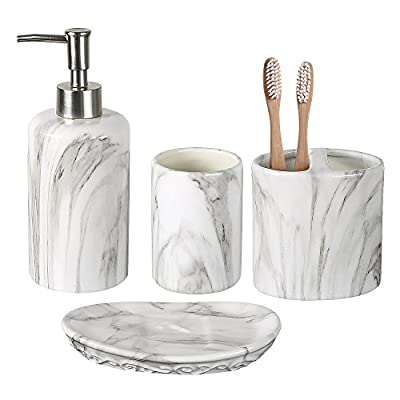 COOSA Ceramic Bathroom Accessories Set, 4 Pieces Bath Ensemble, Bath Set Collection Marble Pattern Soap Dispenser Pump, Toothbrush Holder, Tumbler, Soap Dish (Marble Design) - 【4-PIECE BATHROOM ACCESSORIES SET】COOSA complete bathroom accessory set includes a soap dispenser pump, a toothbrush holder, a tumbler and a soap dish. It is sure to make your bathroom more neat and give you a good mood. COOSA bathroom accessory set is made of high quality materials,elegant and beautiful design. 【DURABLE CERAMIC SET】COOSA Bath set accessories is fashion marble pattern, gives you sense of peace. Made of ceramic, good texture, feels smooth and looks noble. It will resist to constant use, keeping their look just as elegant and attractive over time. 【ACCOMMODATES MULTIPLE USERS】COOSA bathroom accessory set adds a functional touch to secondary and master bathroom decor by meeting the needs of multiple users. - bathroom-accessory-sets, bathroom-accessories, bathroom - 41v RT09 BL. SS400  -
