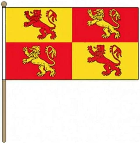 Flagmania® 12 Stück Owain Glyndwr (30,5 x 45,7 cm) große Handwinkel-Flaggen + 59 mm Button Badge