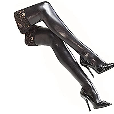 DDLBiz Sexy Women's Black Patent leather Lace Lingerie Thigh High Stockings