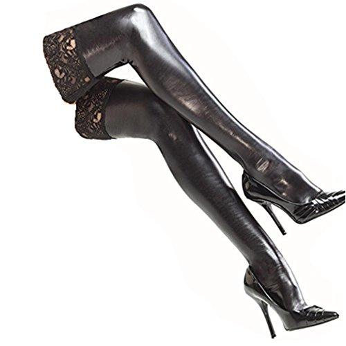 DDLBiz Sexy Women's Black Patent leather Lace Lingerie Thigh High Stockings (Patent Leather Knee Boot)