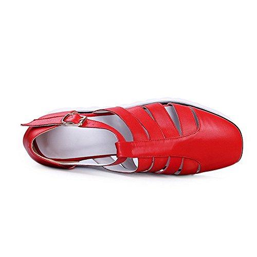 Aalardom Kvinnor Runda Öppen Tå Kattunge Häl Mjukt Material Fast Spänne Sandaler Röda