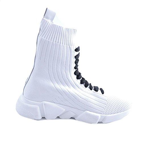 Femmes Blanc GIULIA Slip Patchs Chaussures de Sneakers N pour Noirs Strass Tricot ons N et Slip avec Lacets Faux des avec ons en 39 Hautes NATI YnYOwpxqr