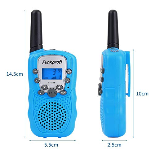 Funkprofi Walkie Talkies for Kids 22 Channels Long Range Rechargeable Walkie Talkies with Battery and Charger, Gift for Boys and Girls, 1 Pair (Blue) by Funkprofi (Image #2)