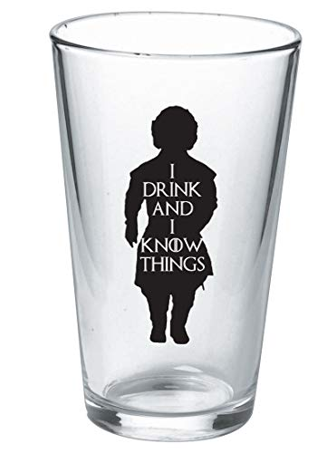 I Drink And I Know Things Beer Glass With Complimentary Shot Glass - Game Of Thrones Merchandise   Tyrion Lannister Funny Novelty Mug by Vivid Ventures (Image #3)