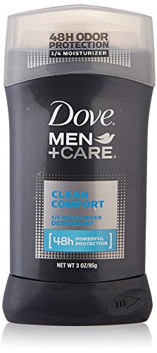 Dove Deodorant 3 Ounce Mens Clean Comfort 1/4 Moisturizer (88ml) (6 Pack)
