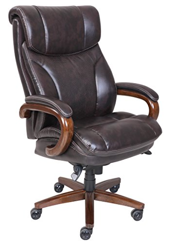 La-Z-Boy Trafford Big & Tall Executive Bonded Leather Office Chair - Vino (Brown)