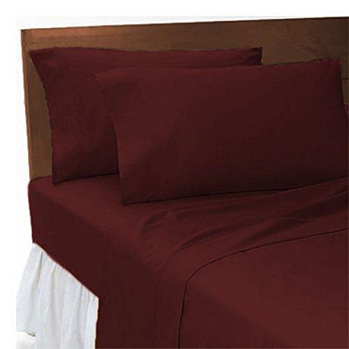 Coton Mode Plain Dyed Poly Cotton Soft Flat Sheets, 19 Colours, Single Double King Super King, (Single, Wine)
