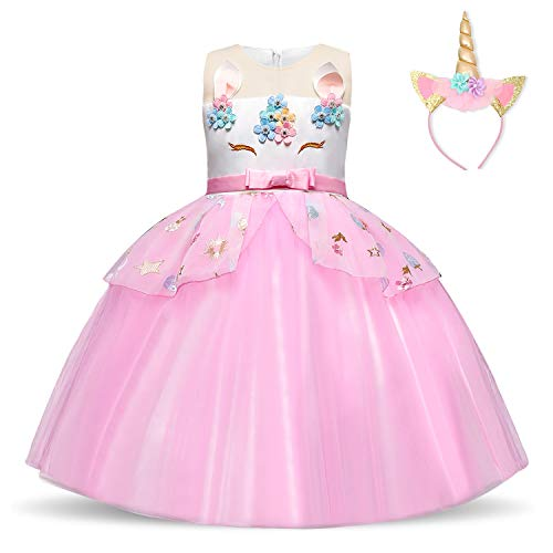 TTYAOVO Girls Unicorn Costume Dress Kids Applique Birthday Party Princess Dresses Size(110) 3-4 Years Pink]()