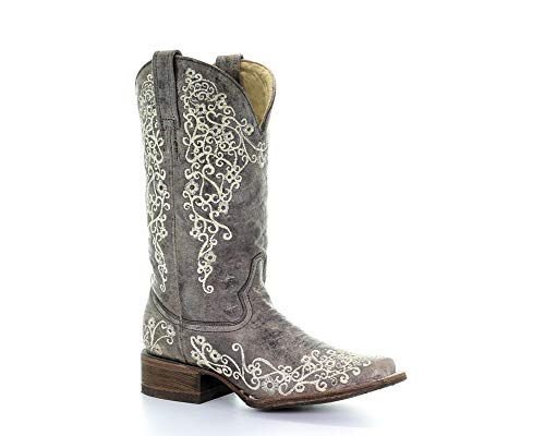 Corral Boots Company Women Crater Bone Embroidery Cowgirl 6.5 B M US Brown