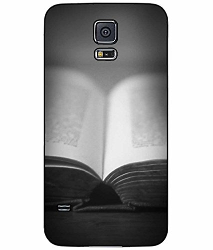 BleuReign(TM) Black and White Open Book Plastic Phone Case Back Cover Samsung Galaxy S5 I9600