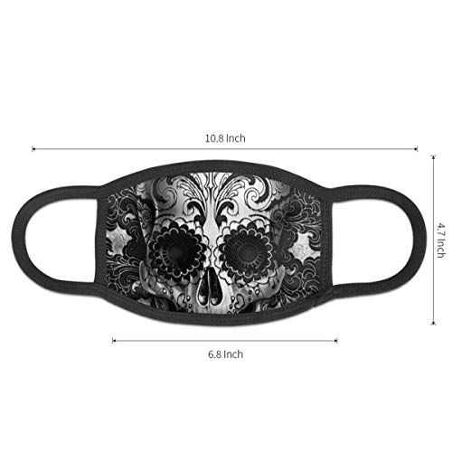NiYoung Fashion Face Masks Earloop Hypoallergenic Half Face Mouth Mask for Pollen Smog Medical Cleaning, Women Men Kids - Healthy (Sugar Skull Black Mouth Mask)