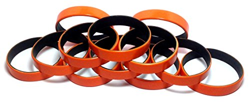 TheAwristocrat 1 Dozen Multi-Pack Orange ColorSpray on Black Wristbands Bracelets Silicone Rubber - Select from a Variety of Colors (Orange on Black, Adult (8