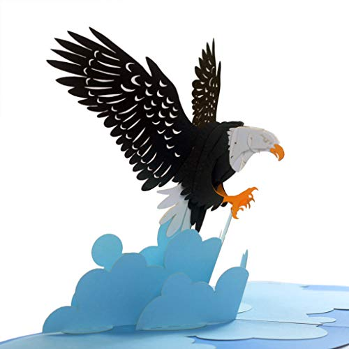 CUTEPOPUP 3D Bald Eagle Popup Greeting Card, Patriotic Card, National Day, Columbus Day, Birthdays, Anniversaries, Independent Day, Ideal Gifts for Family, Friends, College, Outdoor Lover -