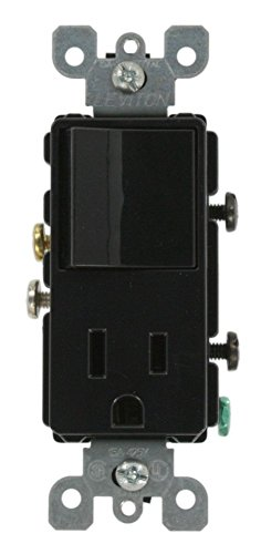 Leviton 5625-E 15 Amp, 120 Volt, Decora Single-Pole, AC Combination Switch, Commercial Grade, Grounding, Black