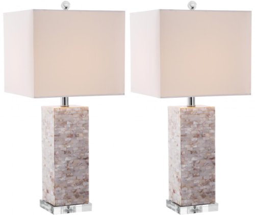 Safavieh Lighting Collection Homer Ivory Shell 25.5-inch Table Lamp (Set of 2) ()