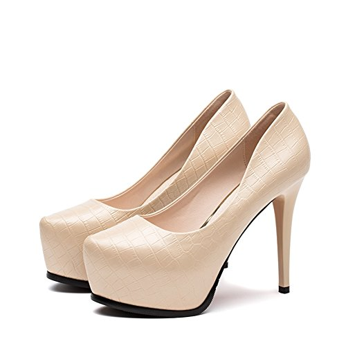 Heels With Element Shoes Fashion Spring Hoxekle Pumps Women New Beige High Platform Stiletto Sexy vqPnqWt