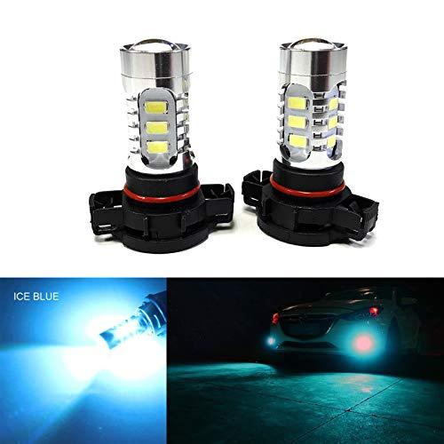 SOCAL-LED 2x H16 5202 LED Fog Light Bulb 15W SMD 5730 12V High Power Bright DRL Bulbs, Ice Blue (Teal)