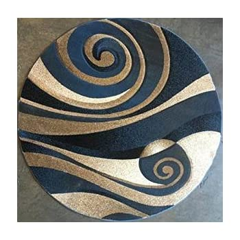 This Item Modern Round Abstract Area Rug Blue Sculpture Design 258 (7 Feet  8 Inches X 7 Feet 8 Inches Round)
