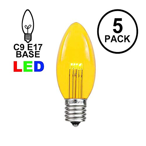 - Novelty Lights 5 Pack C9 LED Outdoor String Light Patio Christmas Replacement Bulbs, Yellow, C9/E17 Base.75 Watt