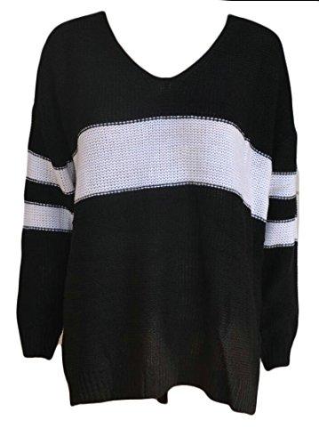M&S&W Women's Fashion V-Collar Long Sleeve Loose Sweater Black