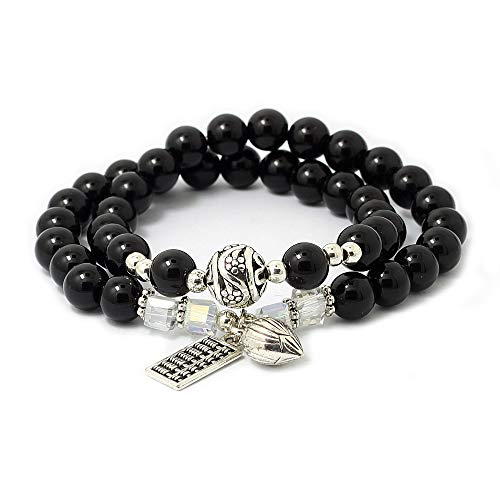 Kaachli Polychromatic Healing Crystal Natural Stone Black Agate Two Circles Gemstone Beaded Distance Bracelet for Men and Women (Black Agate-Abacus)