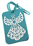 204 Fashioncraft Rubberized Turquoise Angel Design Luggage Tag Baby Shower Christening Baptism Religious Party Souvenir Favors