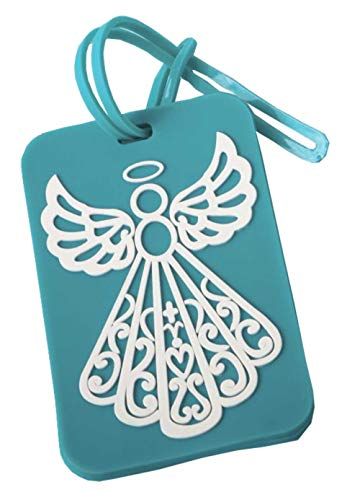 24 Fashioncraft Rubberized Turquoise Angel Design Luggage Tag Baby Shower Baptism Religious Party Souvenir Favors