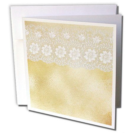 Gold White Light Two Collection (3dRose Uta Naumann Vintage Lace Collection - Vintage White Floral Lace on Light Gold Sparkling Background - 12 Greeting Cards with envelopes (gc_253469_2))