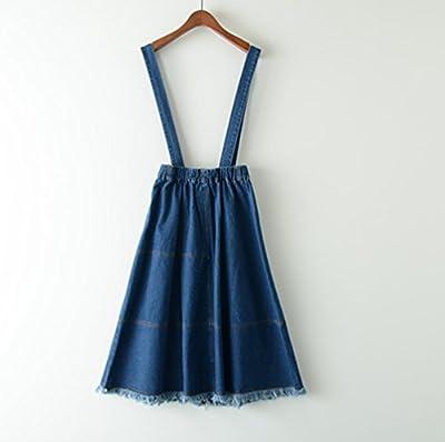 Women's Elastic Waist Denim Button Suspender Skirt Vintage Dark Blue Long Denim Skirt with Strap