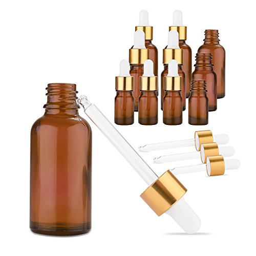 Proof Labels - Kalevel Amber Glass Dropper Bottles with Waterproof Oil Proof Label Stickers Set Eye Dropper Glass Bottles for Essential Oils,Science,Chemistry Lab Chemicals (10 Pack)