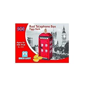 Red Telephone Booth Box Piggy Savings Bank London UK Nano Bricks fits Nanoblock