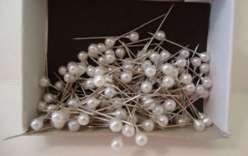"Package of 288Pcs Straight Pins Plastic WHITE PEARL wint ROUND HEAD CORSAGE PINS 1"" Long- 4mm Diy Dressmaking for Decorative Projects Embroidery Arts Crafts Embellishment Floral Arranging Design"