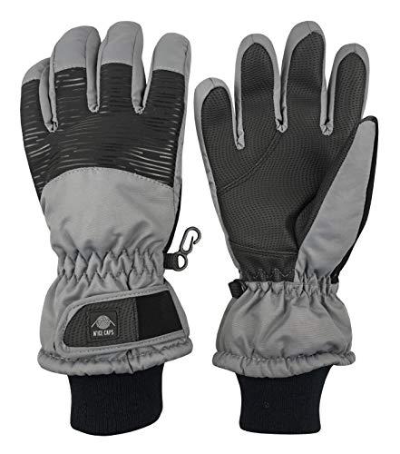 N'Ice Caps Kids Bulky Thinsulate Waterproof Winter Snow Ski Glove with Ridges (Charcoal Grey Stripe, 9-10 Years)