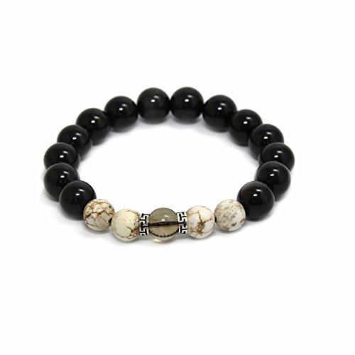 ack Obsidian Howlite Smoky Quartz Healing Crystal Energy Stone Strech Beads Bracelet ()