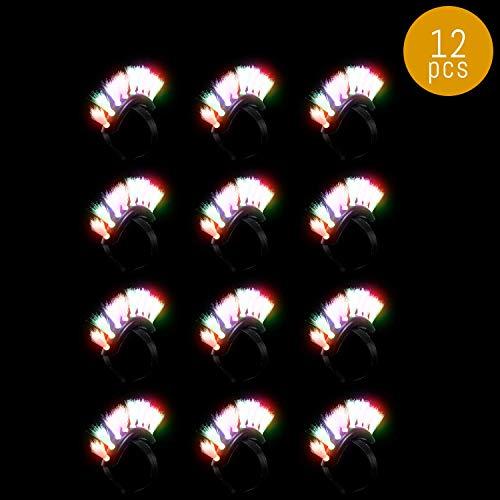 Lumistick LED Fiber Optic Mohawk Headband | Light Up Multicolor Flashing Hairband Blinking Makeover Glowing Headwear (12 Headbands) -