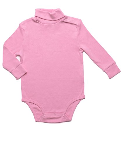 Leveret Solid Turtleneck Bodysuit 100% Cotton (2 Years, Pink)