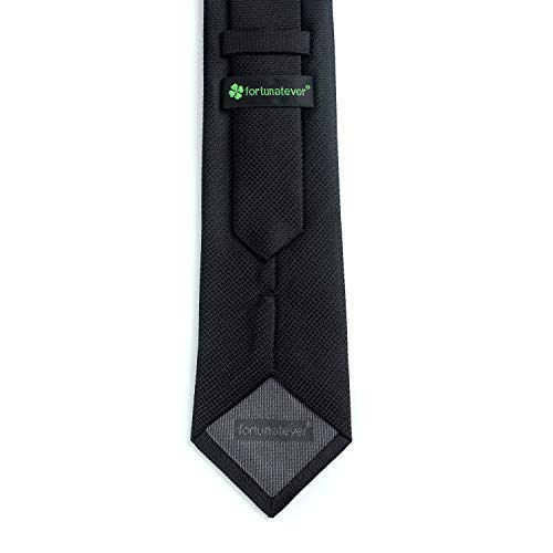 e796449063a5 Fortunatever Mens Solid Neckties,Black Tie For Men With Gift Box,58 ...