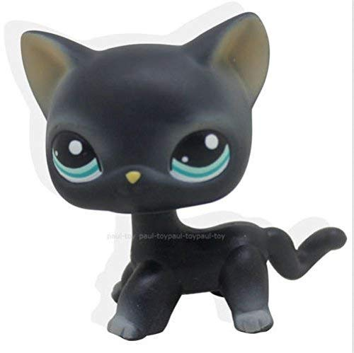Good Luck Charm Collection LPS Figure Toys Pet Shop Black Short Hair Cat Kitty Blue Eyes Toy LPS Rare Family Friends Doll crossed3_Pet toy store