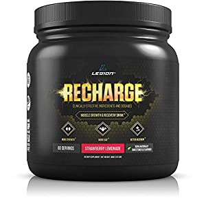 Legion Recharge Post Workout Supplement – All Natural Muscle Builder & Recovery Drink with Creatine Monohydrate. Naturally Sweetened & Flavored, Safe & Healthy. Strawberry Lemonade, 60 Servings.
