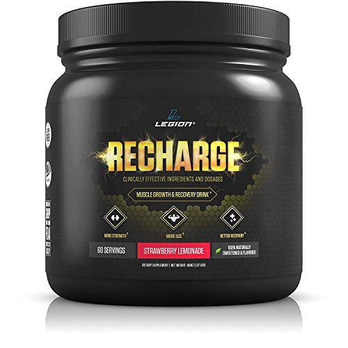 Workout Supplement - All Natural Muscle Builder & Recovery Drink with Creatine Monohydrate. Naturally Sweetened & Flavored, Safe & Healthy. Strawberry Lemonade, 60 Servings. ()