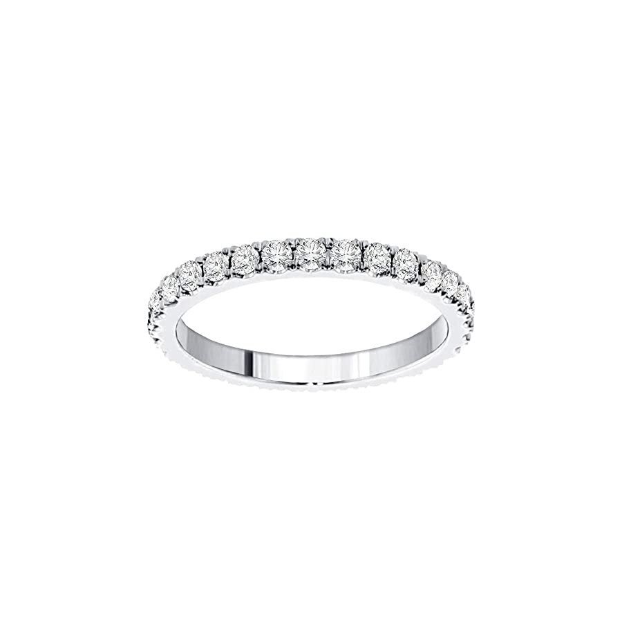 VIP Jewelry Art Platinum Pave Set Brilliant Cut Diamond Eternity Wedding Band (1.00 1.35 CT TDW)