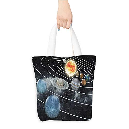 Casual Shopping Tote BagSolar System all Eight Planets and the Sun Pluto Jupiter Mars Venus Science Fiction Reusable 100% Eco Friendly W11 x H11 x D3 INCH ()