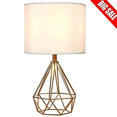 "SOTTAE Modern Style Golden Hollowed Out Base Living Room Bedroom Beside Table Lamp, Desk Lamp with White Fabric Shade - Size: Diameter: 9.06"", Hight: 15.75"". Item weight:2.35pounds.Please note the small size before purchasing. Input: AC 110V - 120V. Lamp Can be used with LED, CFL, Incandescent Medium base bulbs(Bulbs are not included) Well-designed: Modern style, Cage Geometric metal lamp base,High quality, Electroplated bronze hollow base with white lampshade, Unique taste. - lamps, bedroom-decor, bedroom - 41v WdEndNL. SS400  -"
