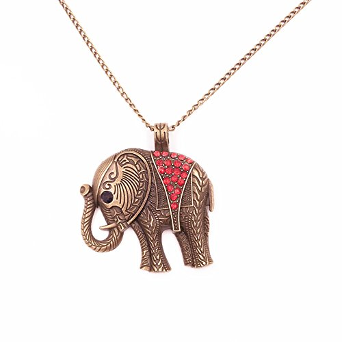 Odette Elephant Vintage Retro Style Long Necklace Jewelry Pendant (Red Elephant Necklace compare prices)