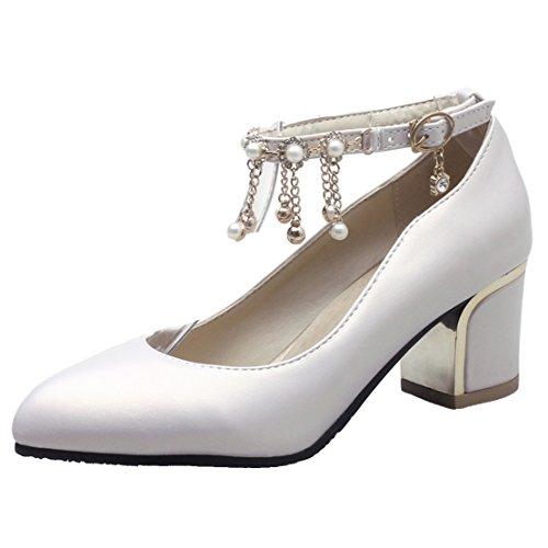 AIYOUMEI Damen Knöchelriemchen Blockabsatz Pumps Mit 5cm Abstaz und Perlen Bequem Schuhe Beige