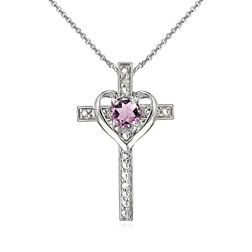 Sterling Silver Simulated Alexandrite Cross Heart Pendant Necklace for Girls, Teens or (Gemstone Religious Cross)