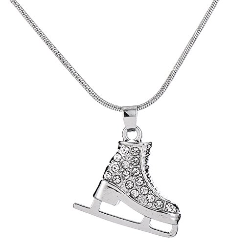 3D Adorable Crystal Ice Skate Charm Pendant Necklace For Girls women (crystal)