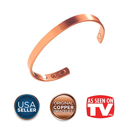 Earth Therapy, The Original Pure Copper Magnetic Healing Bracelet for Arthritis, Carpal Tunnel, and Joint Pain Relief - Minimalist Style - Adjustable - For Men and Women
