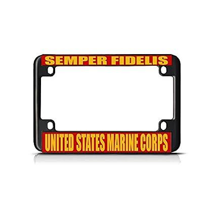 SEMPER FIDELIS US MARINE CORPS Chrome Metal Bike Motorcycle License Plate Frame