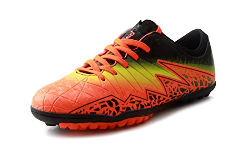 T&B Soccer Shoes Cleats Kids Outdoor Sports Football Boots Low-top  Orange/Black 77030-Ju-33-2.0US